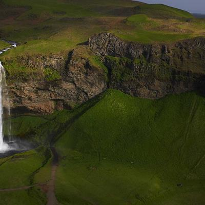 Aerial view of Seljalandafoss Waterfall in South Iceland
