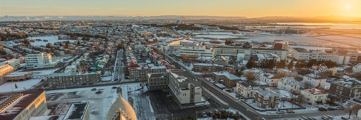 Aerial view of Reykjavík during Winter